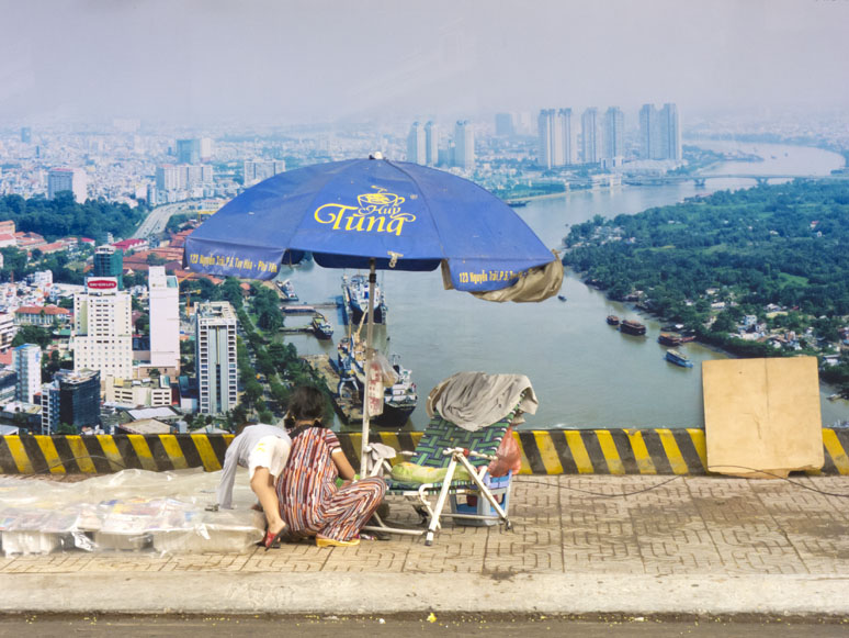 The photo of the blue parasol was taken during Commerce and Culture's trip to Vietnam.