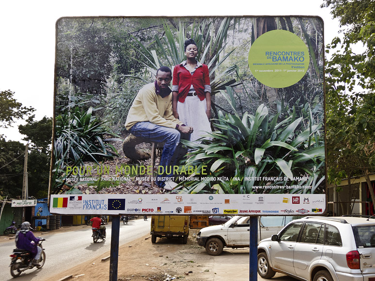 The billboard advert for the photo festival Rencontres de Bamako. Commerce and Culture, together with their partners CFP, created an exhibition for the festival.