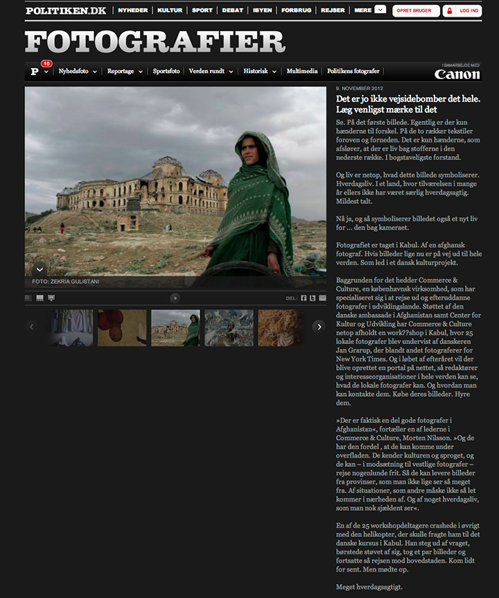 Photo of the article about Commerce and Culture's project in Afghanistan, on the Danish newspaper Politiken's website.