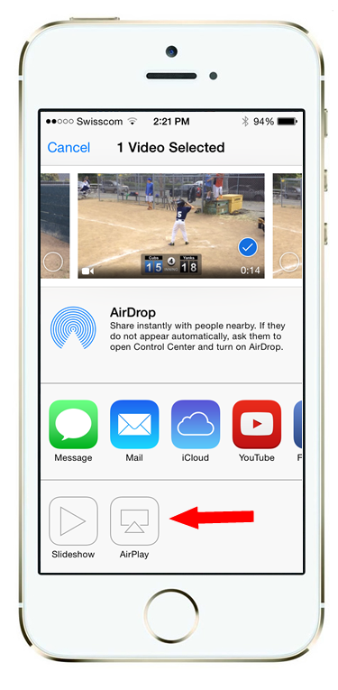 Next under Share options click on the AirPlay button.