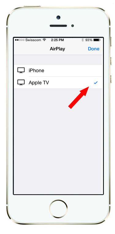 If your AppleTV is on, and you are within range, you should see the AirPlay > AppleTV option listed.  Click it.