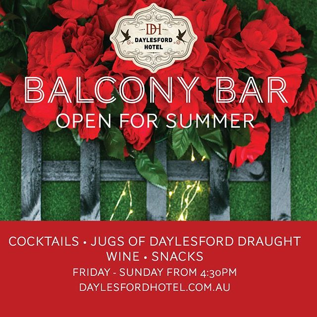 Come celebrate the start of Summer and watch the sunset whilst sipping on a cocktail 🍹 The Balcony Bar Opens today from 4:30 . . . #daylesfordhotel #balconybar2018 #dhbalconybar #daylesford #daylesfordmacedonlife #daylesfordvictoria #daylesfordpubs #daylesfordandhepburnshire #daylesfordtourism #visitdaylesford #countrydrives #countryvictoria #cocktails #eatdrinkbemerry #openingtonight #jointhelocals #daylesfordsunset #sunsetbar