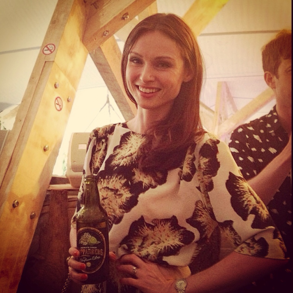 Sophie Ellis Bextor wearing the Alexa dress by Ellie Lines