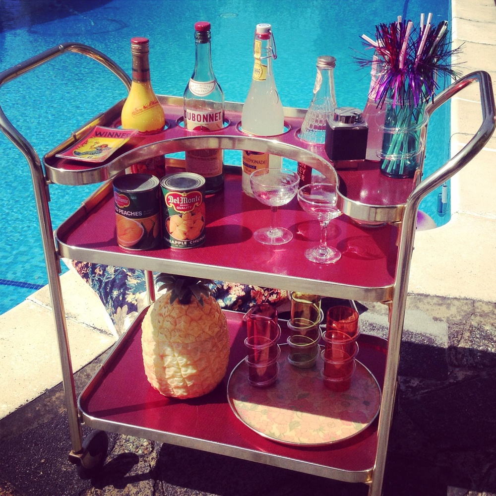 Retro Poolside Cocktail Trolley