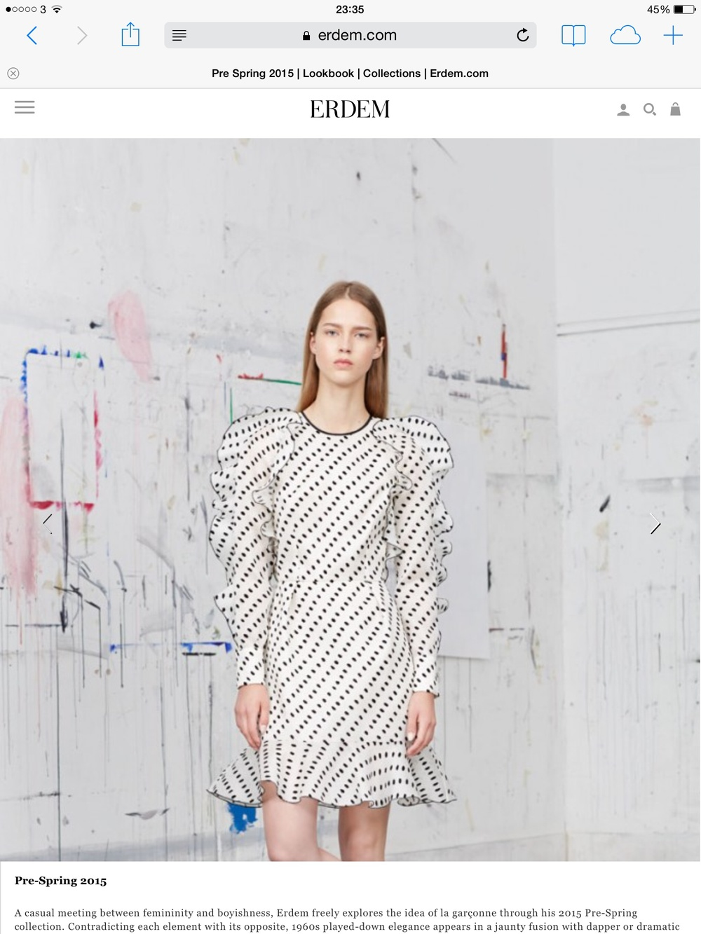 screenshot from Erdem.com pre-Spring 2015