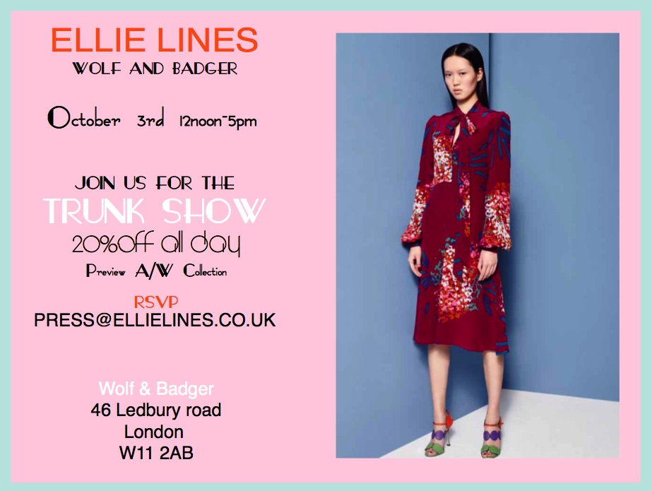 Ellie Lines at the Wolf & Badger Trunk Show advert