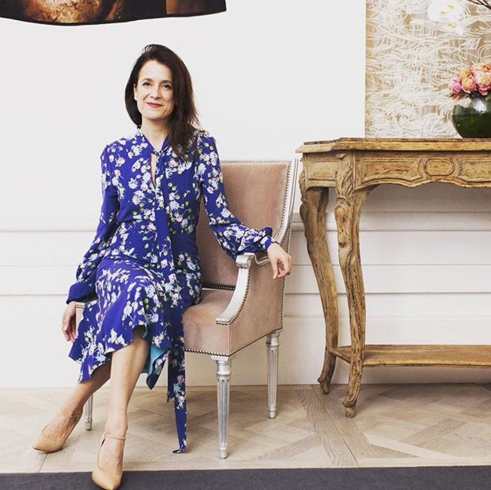 Raquel Cassidy wearing a blue silk Ellie Lines' Julia dress