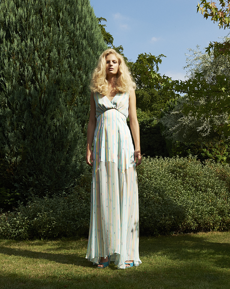 London Palm Collection Designed by London Stylist Ellie Lines Silk Maxi Dress