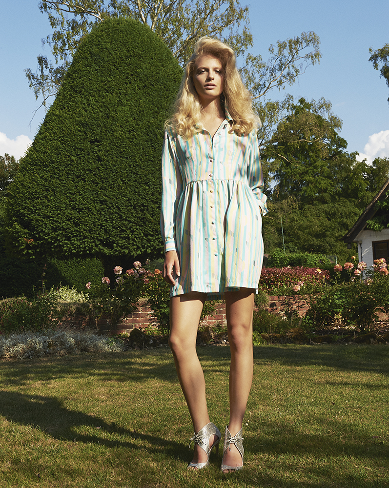 London Palm Collection Designed by London Stylist Ellie Lines Silk Shirt Dress