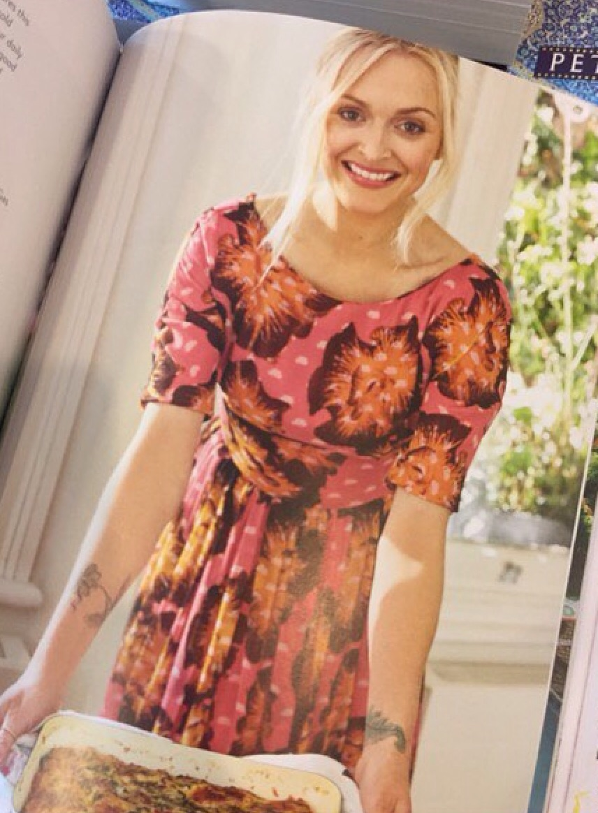 Ferne Cotton wearing a silk dress from London Fashion Designer Ellie Lines