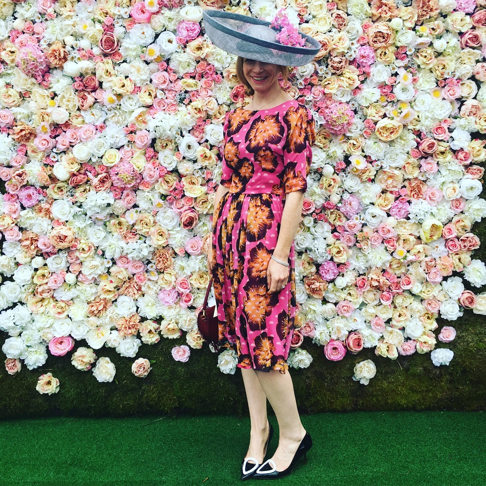 Ellie Lines at Royal Ascot wearing a hat by Siana Yewdall