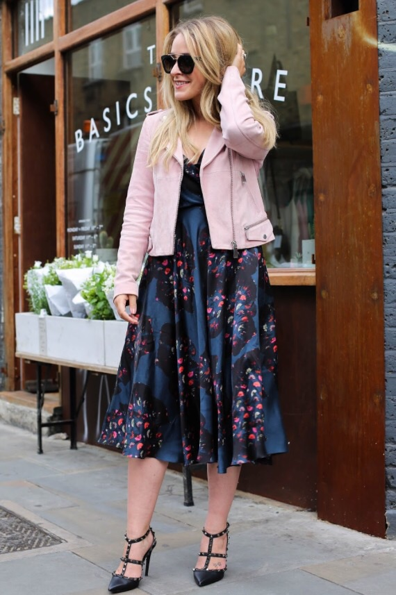 Designer Ellie Lines' silk party dress with pink biker jacket