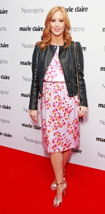 Sarah-Jane Mee wearing a silk party dress by fashion designer Ellie Lines