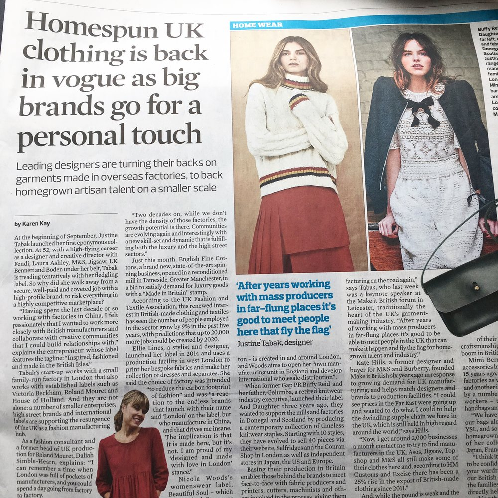 Observer Article Featuring British Fashion Designer Ellie Lines