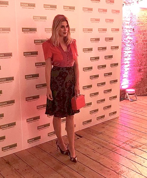 Ashley James Wearing Fashion Designer Ellie Lines silk Tess party dress
