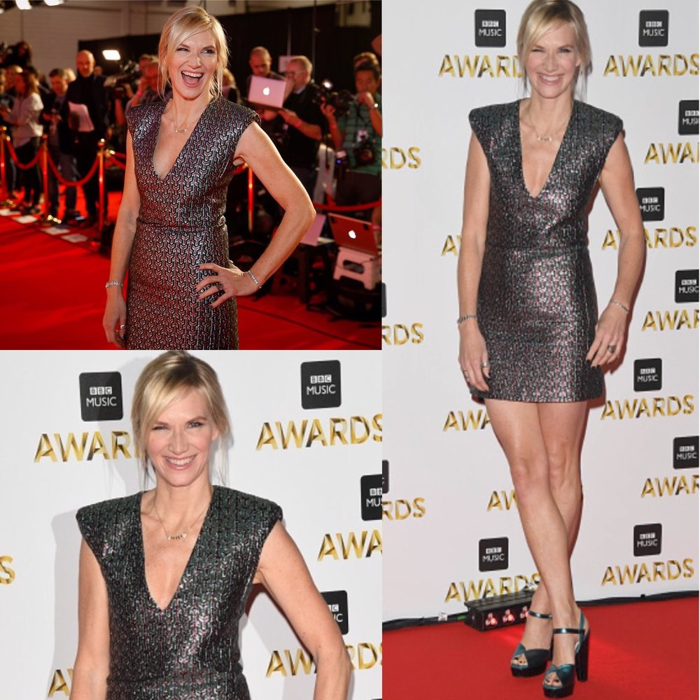 Jo Whiley wearing dress by Tara Jarmon, shoes by Terry De Havilland and jewels by Kamushki and by Savage & Rose 💃