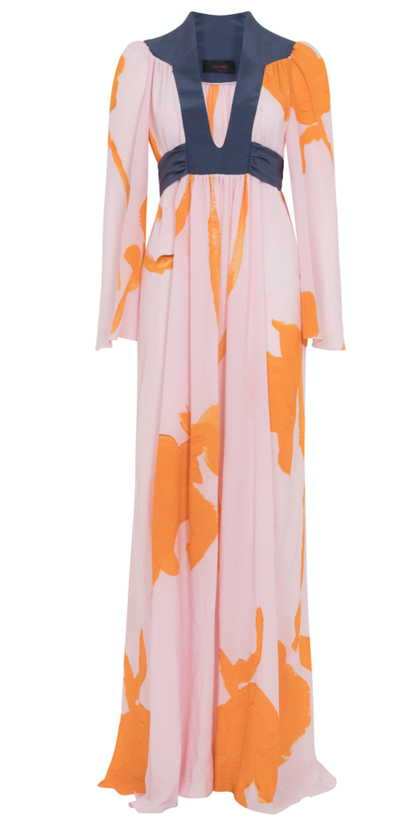 Ellie Lines Egg Colonel Silk Maxi Dress
