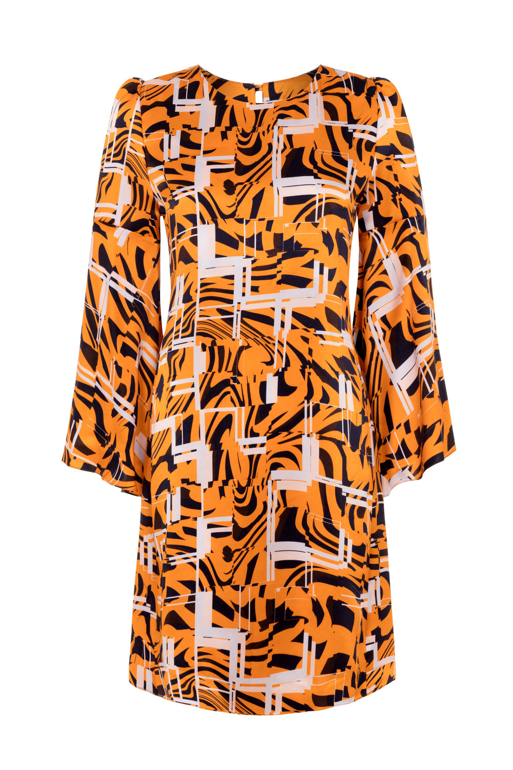 ELLIE LINES GEORGIE TIGER PRINT SILK PARTY DRESS