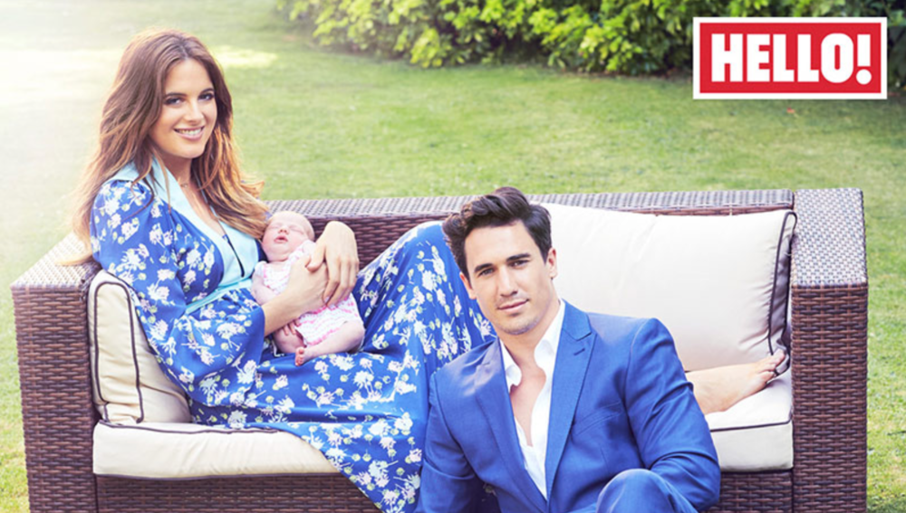 Binky Felstead wearing blue silk Ellie Lines Maxi Dress for Hello magazine