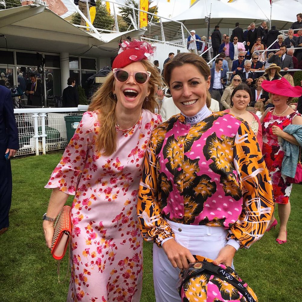 Jockey Aly Vance with silk shirt designed by London Stylist Ellie Lines