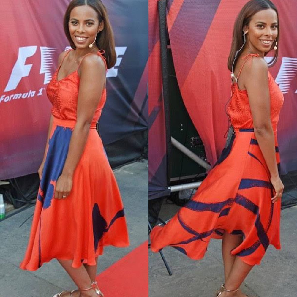 Rochelle Humes wearing an Ellie Lines red silk camisole and skirt
