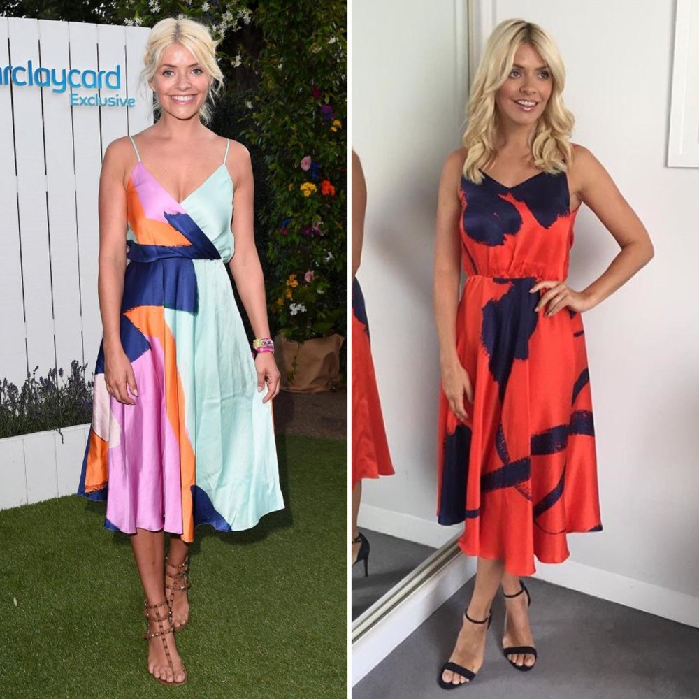 Holly Willoughby wore the Carly dress in two different prints and ways -