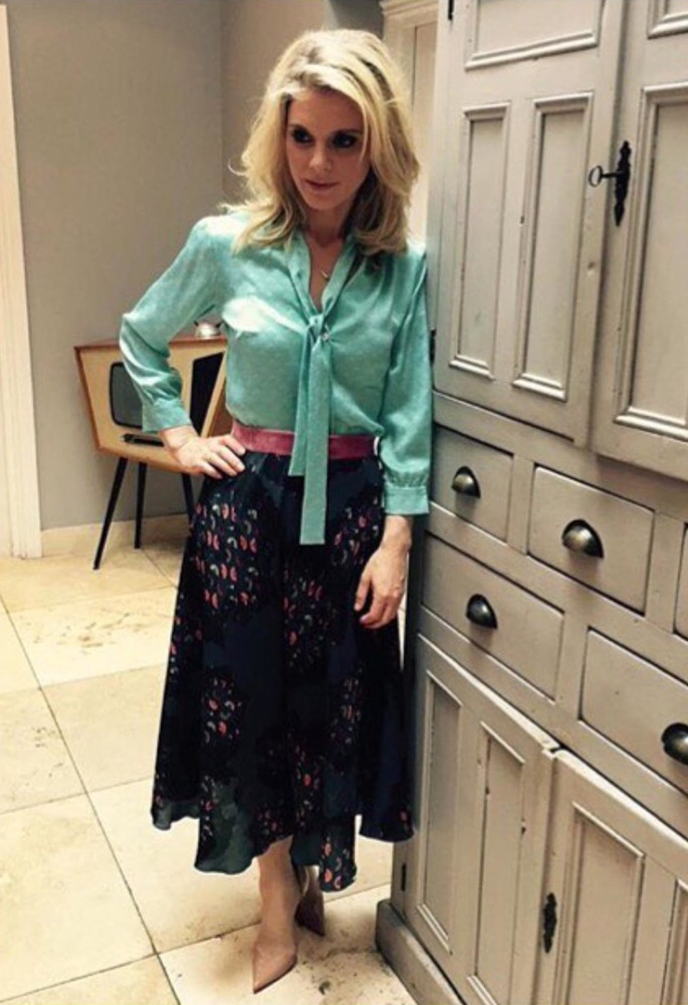 Actress Emilia Fox teamed her Maddie blouse with the Dora skirt for a subtle print clash -