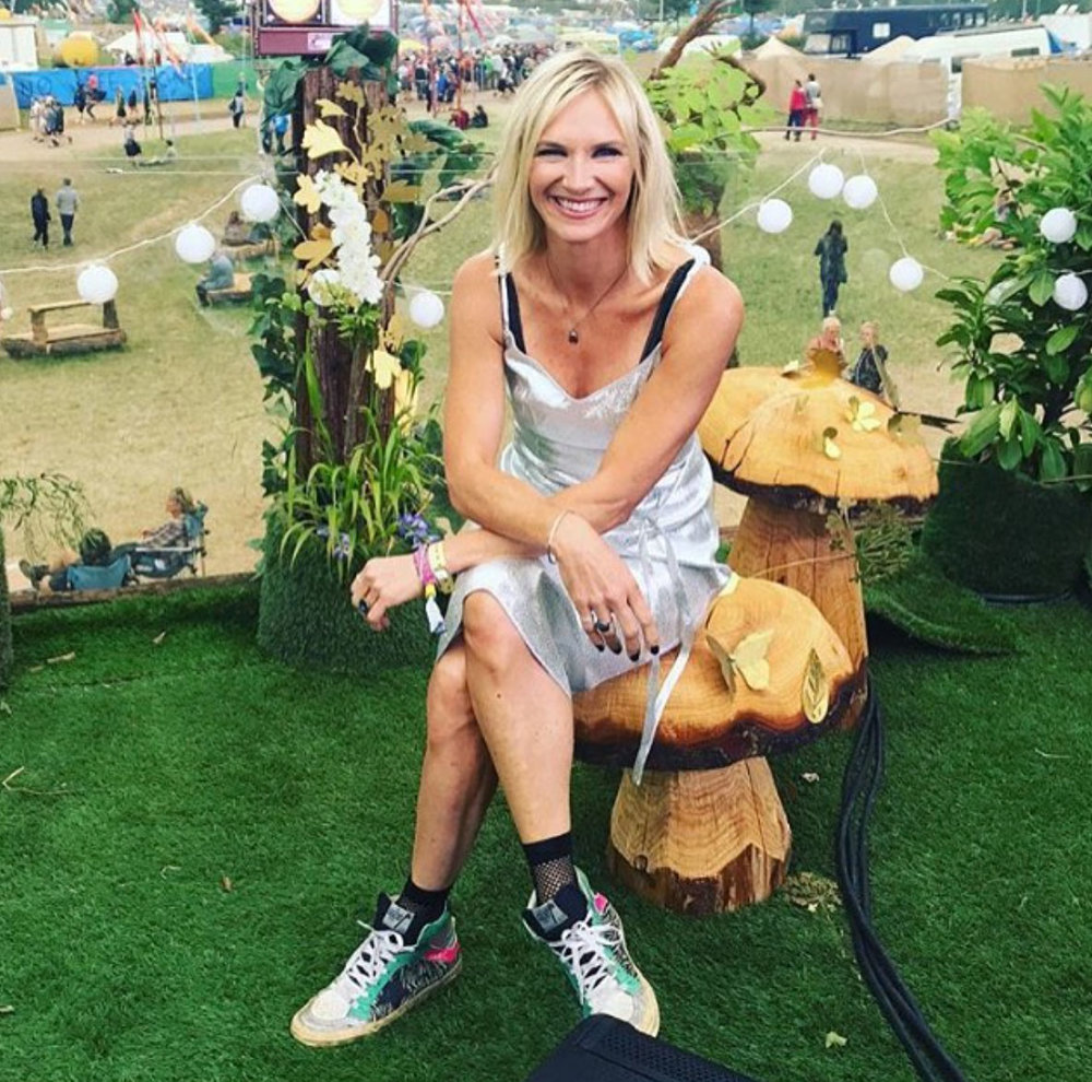 Jo Whiley wearing an Ellie Lines dress at Glastonbury