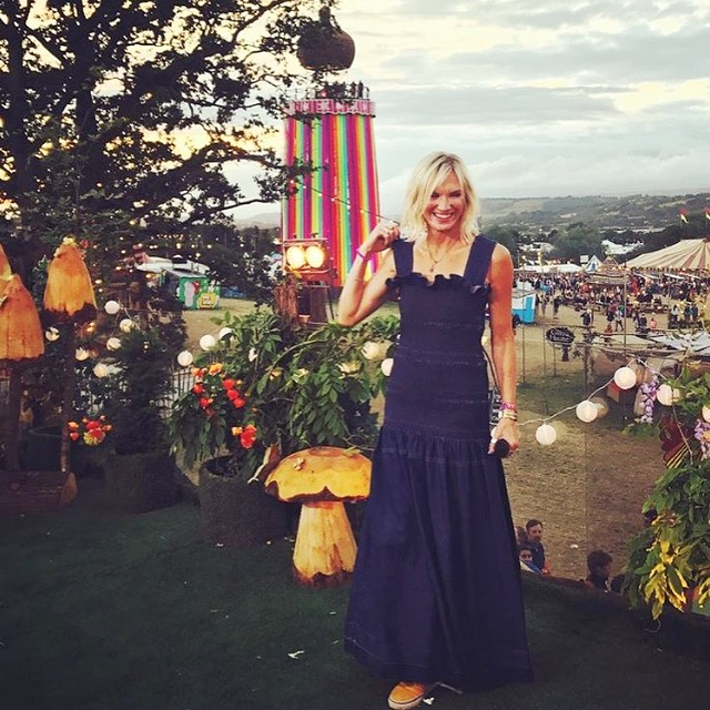 Jo Whiley wearing Ellie Lines silk Stella dress
