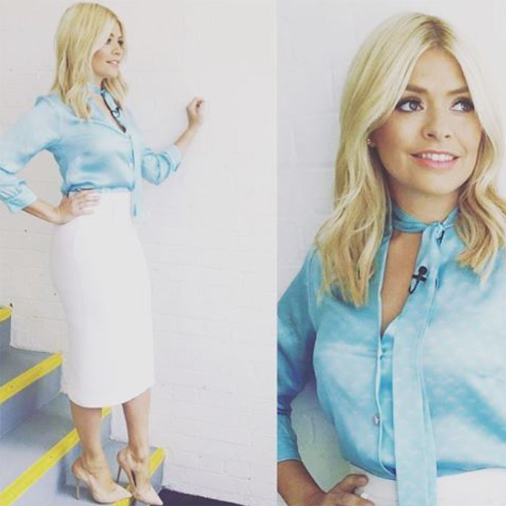 Heavenly Holly Willoughby looked super stylish in her Maddie blouse with neck tie knotted slightly to the side -