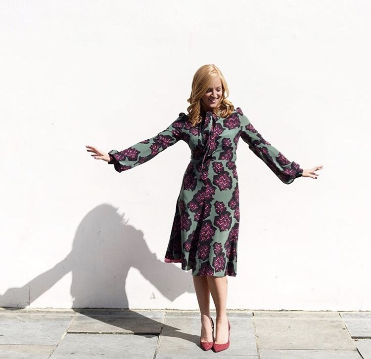 Sarah-Jane Mee turned Blue Monday pink and green wearing the Julia dress -