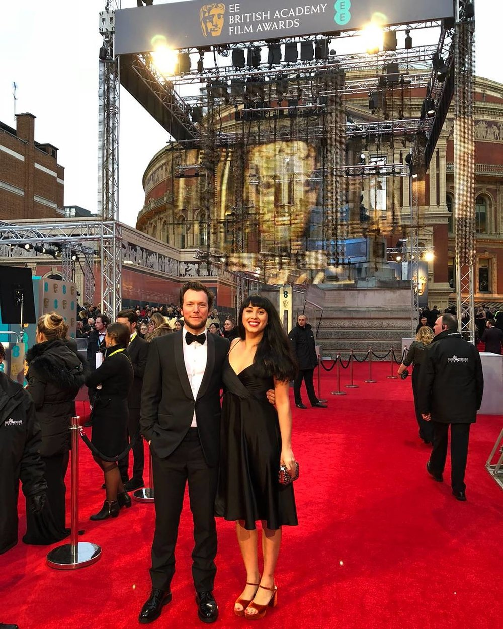 Back to black, Melissa Hemsley glowing as she attended the BAFTA Awards in the Carly dress -