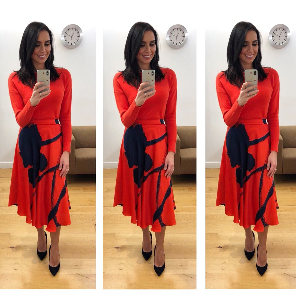 Shades of scarlet, Christine Lampard looking effortlessly stylish in the Dora skirt -