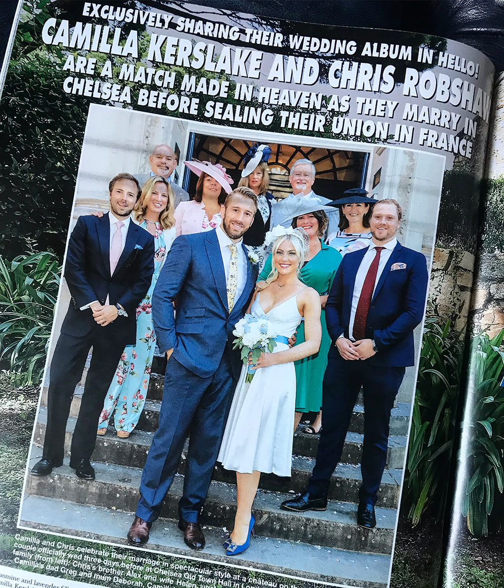 Camilla Kerslake looked sensational on her wedding day marrying Chris Robshaw wearing a bespoke Carly dress. As seen exclusively in Hello! Magazine. -