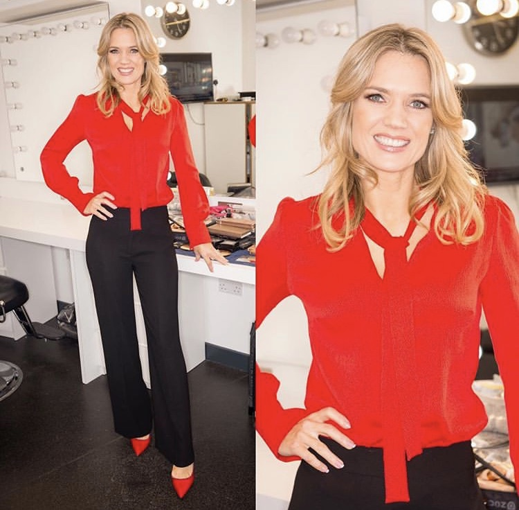 Red hot gorgeousness Charlotte Hawkins brightening up the day in the Candella blouse -