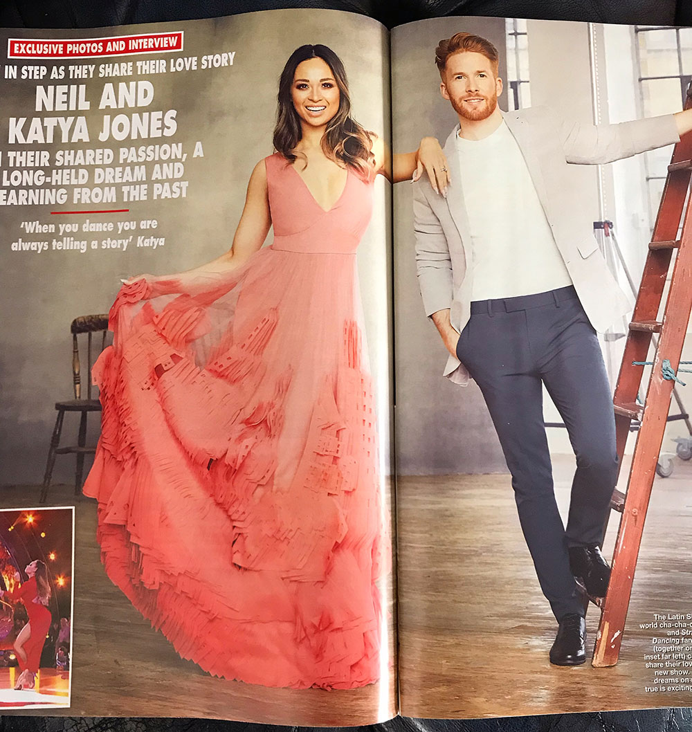 Katya Jones scored a perfect 10 in the Ray evening gown featured in Hello! Magazine -