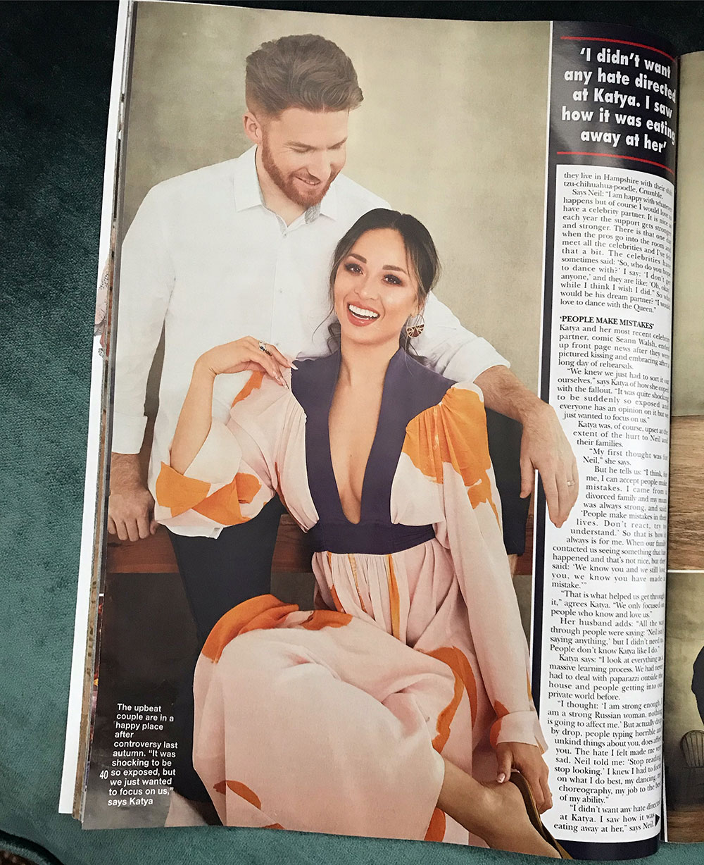 Katya Jones looking effortlessly stylish wearing the Ellie dress in Hello! Magazine -