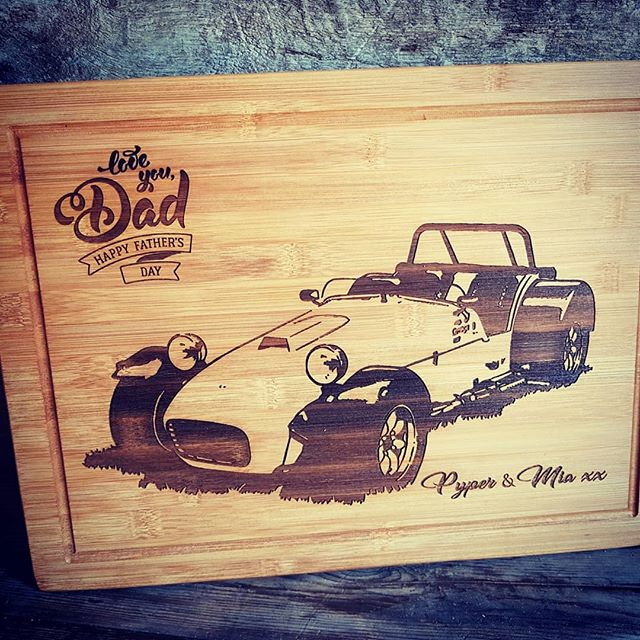 Father's day Chopping board. Laser engraved design.. #handmade #laserengraved #solidbamboo #caterham7 #woodengifts #personalisedgift