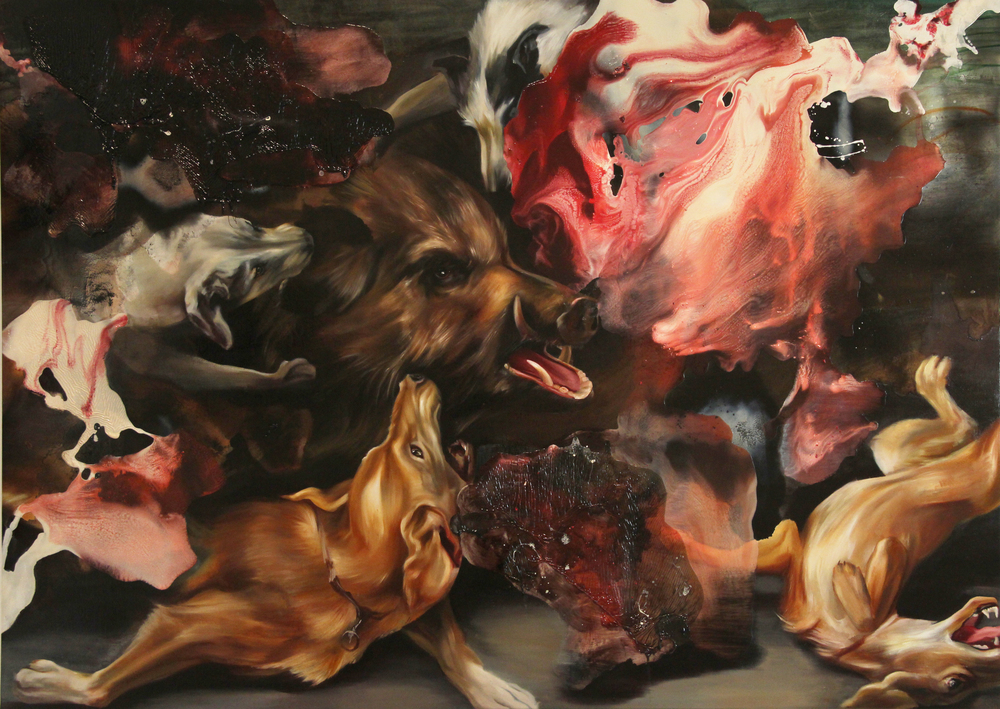 "these fragments i have shored against my ruins.     oil on canvas over panel. 66 x 90"". 2011"