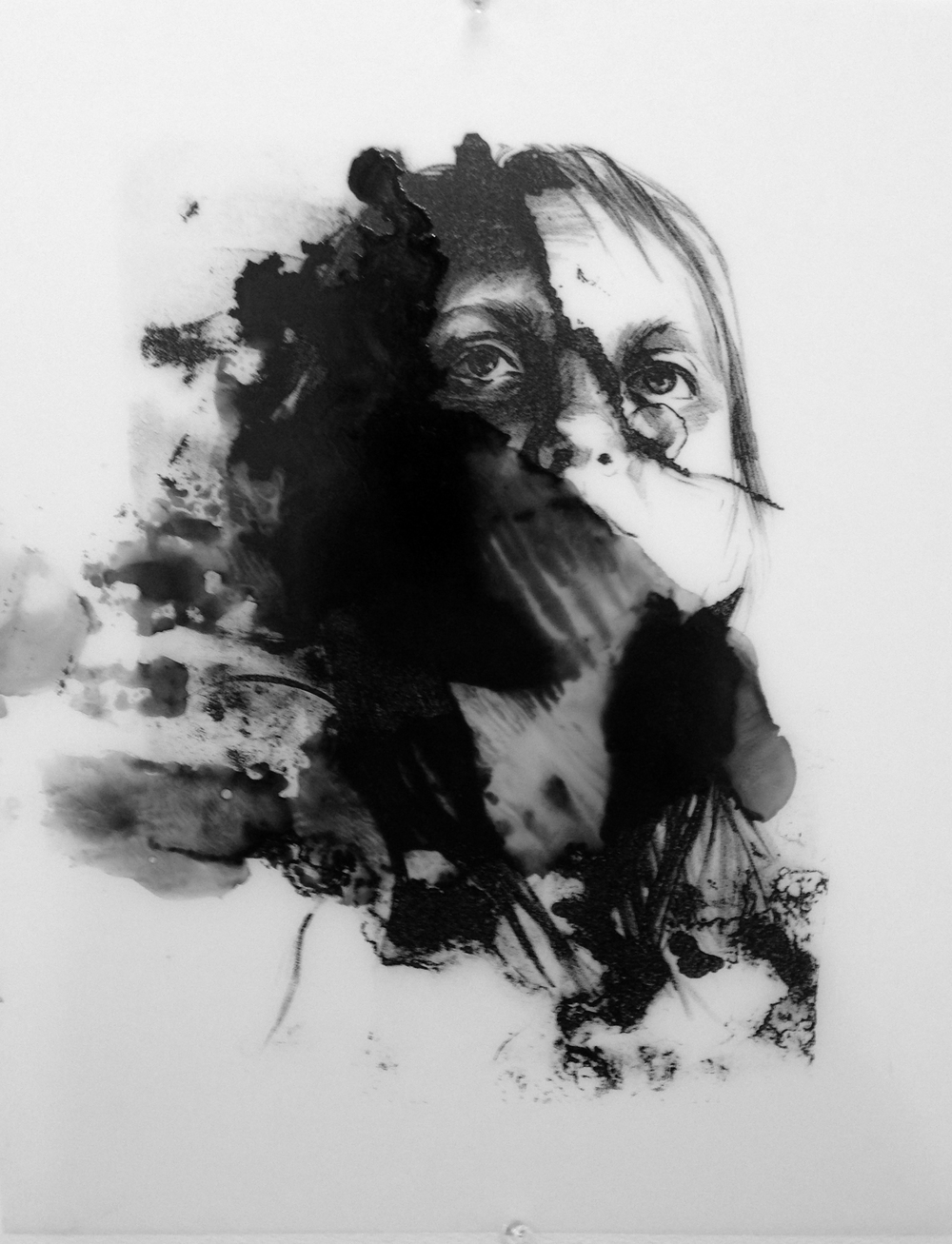 """untitled study .unique print, s  tone lithography on mylar.   16 x 20"""". 2013."""