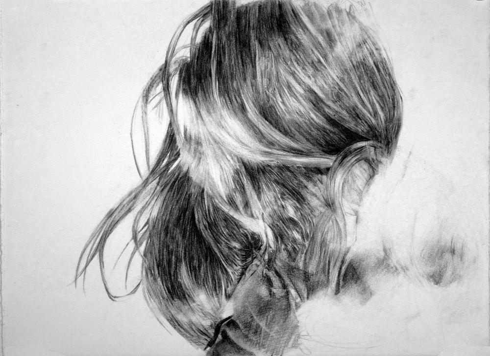 "until what i love misses me.     pencil on paper. 11 x 15"". 2011"