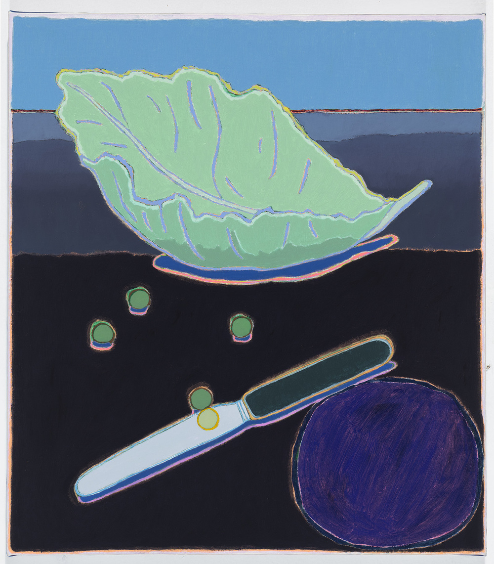 "Lettuce, Peas and Knife,  16 x 18.25"", oil on canvas, 2014"
