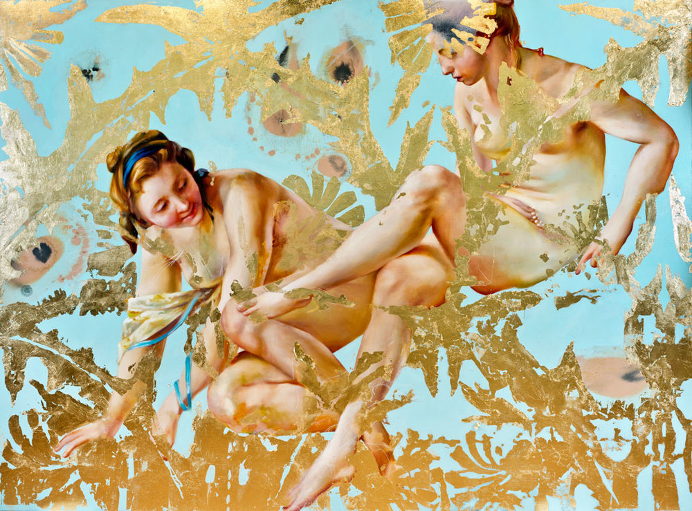 "Carried by voices, oil, 23kt gold leaf and galkyd on canvas, 66"" x90"", 2014"