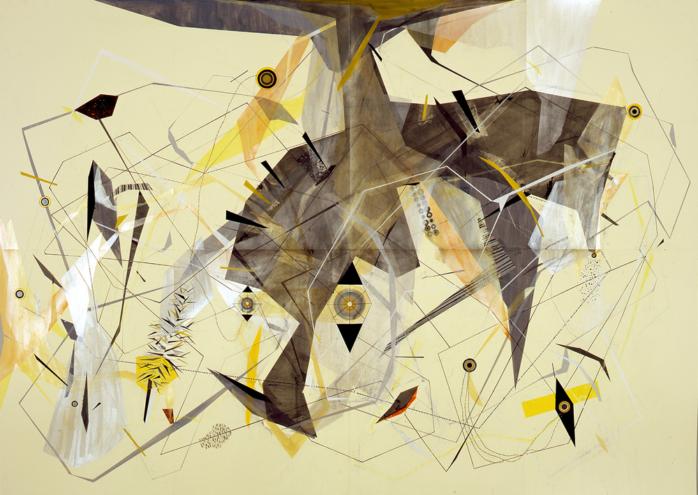 2. Monument to the Geo Chemistry After Structure with Yellow DISTURBANCE Code and Disaster Averter and Atomic Station, Gouache, ink, colored pencil, graphite, and pastel on Fabriano Murillo paper, 79 x 110 in. (200.7 x 279.4 cm), 2014-2011.