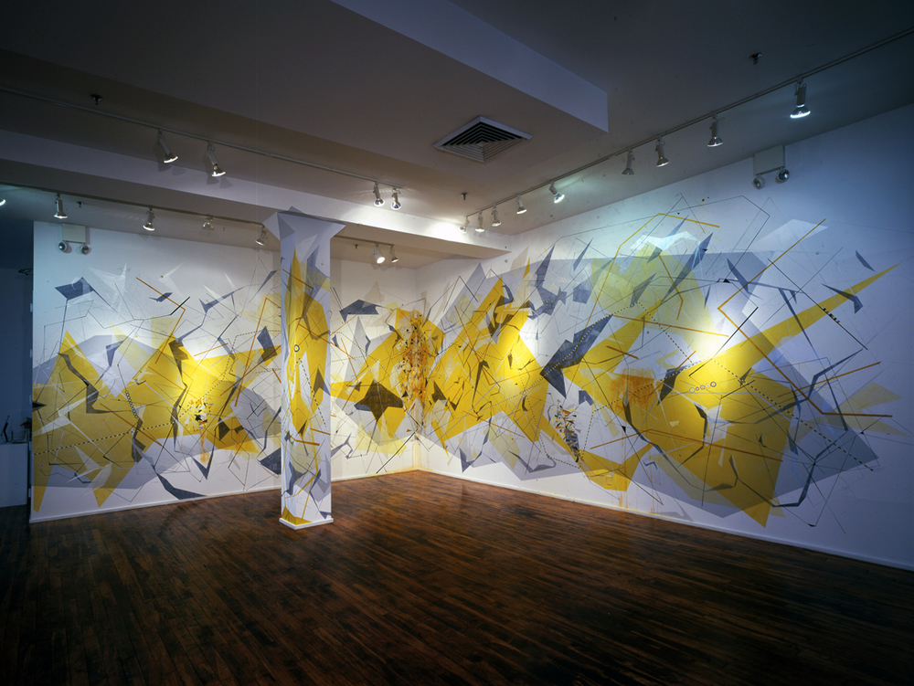 3.  Xanthicia, Solar System Drawing and Atomic Daylight, Installation View, Nature Interrupted, Chelsea Art Museum, New York, NY. ink, acrylic, house paint, and colored pencil on wall, 16 x 34 ft, 2012.