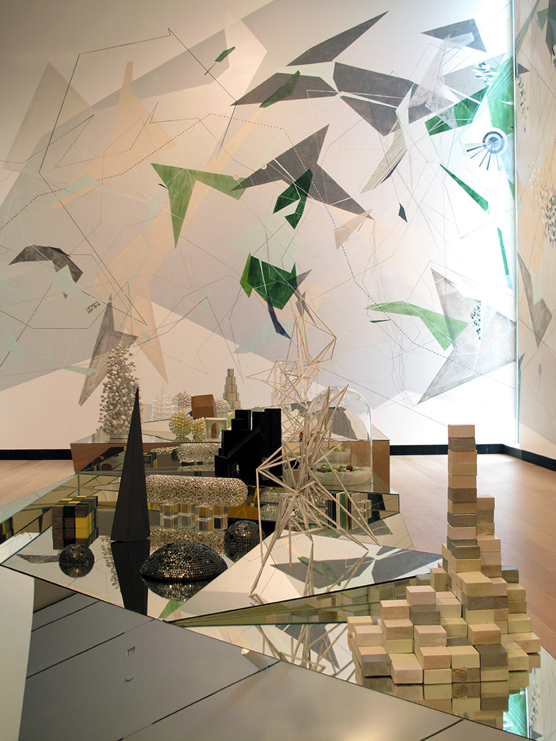 5. Death Rock City, detail, Wooden platforms with mirror, structures created from glass, Swarvski crystal, cardboard, tile, rubber, and paper; large drawings. 4 x 27 ft., 2013-2010