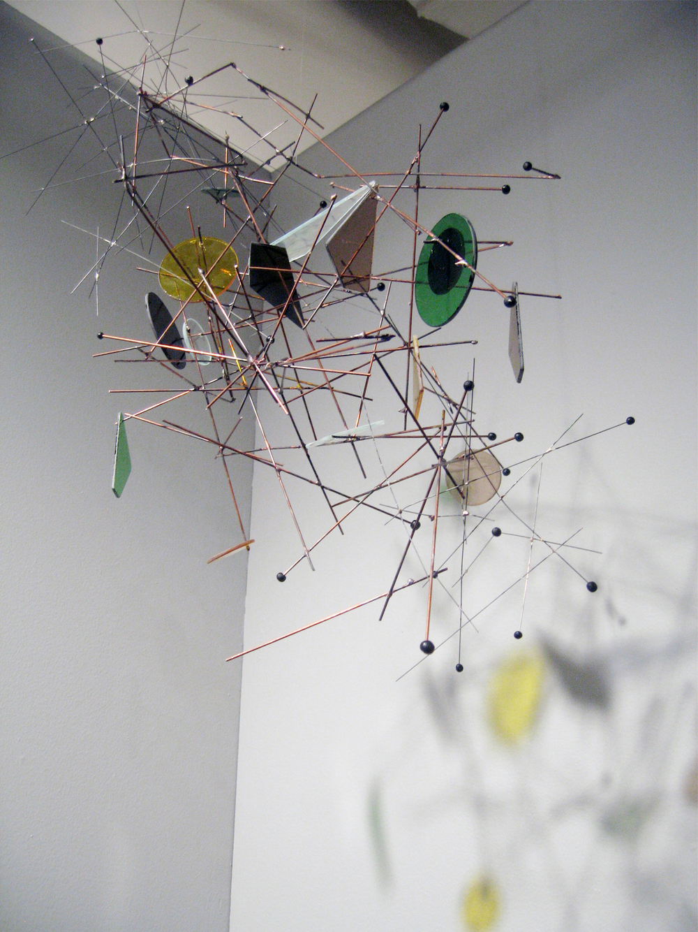 7. Suspended Galaxy System, Wire mobile, Copper, stainless steel, stained glass and ceramic 32 x 22 x 17 in., 2013-2010