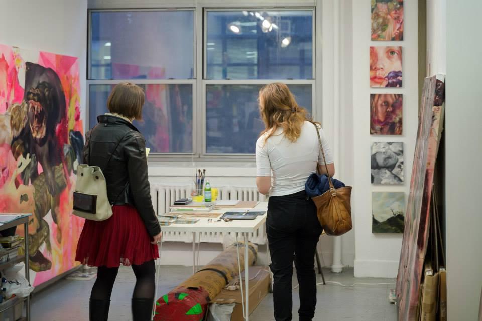 Visitors in my studio during 2014 EFA Open Studios (Photo: Matthew Vicar)