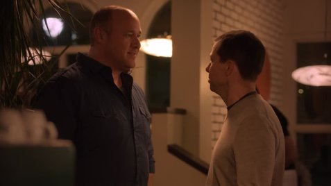 "Will Sasso and Jon Cryer acting at the Black Cat Bistro, in a scene from ""Hit by Lightning"", 2014."