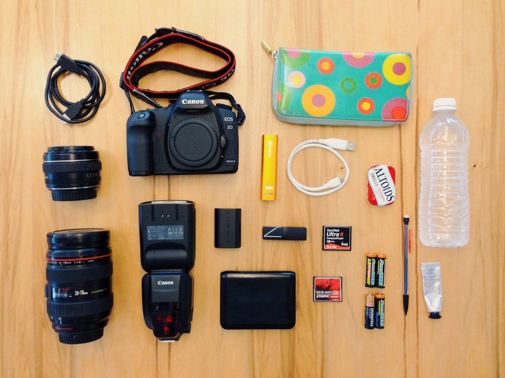 Everything in my camera bag on a typical shoot day